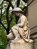 Stone figure with acid rain damage