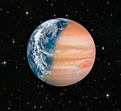 Composite Earth-Jupiter planet