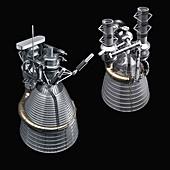 F-1 and J-2 rocket engines,illustration