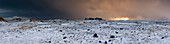 Snow storm over lava fields,Iceland