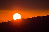 Sun setting behind Black Crag,UK
