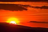 Sunset over the Welsh border hills