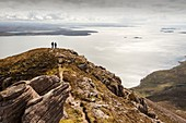 Walkers descending Ben Mor Coigach