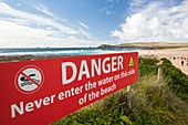 Swimming danger sign,Cornwall,UK
