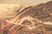 Switchback road to Chacaltaya,Bolivia