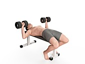 Man doing bench press exercise