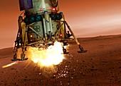 Space craft landing on planet