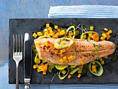 Fillet of char with pumpkin and leek
