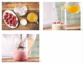 How to prepare pineapple, raspberry and soja shake