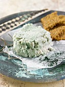 Vegan almond cheese with spirulina