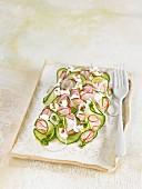 Cucumber salad with almond cream and radish
