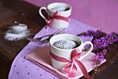 Microwave brownies in two cups decorated with bows