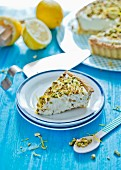 Lemon and caramel tart with pistachio nuts