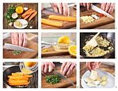 Ingwer-Chili-Möhren mit Camembert und Harzer Käse zubereiten