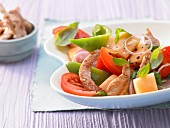 Pepper and melon salad with turkey breast strips