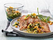 Turkey escalopes with peach and cucumber salsa