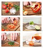 Tomaten-Paprika-Cocktail zubereiten