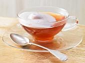 Cinnamon flower tea with chocolate foam