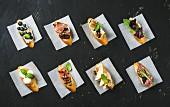 Italienische Crostini mit verschiedenen Belägen auf weißem Backpapier