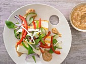 Asian tofu salad with cucumber, peppers and sweet and sour cashew pesto
