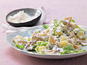 Gorgonzola pasta with savoy cabbage ribbons