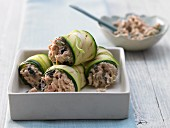 Courgette rolls with a caper and tuna filling