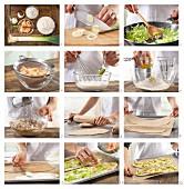 Flammkuchen mit Wasabi, Garnelen und Lauch zubereiten