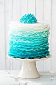 Ombre ruffle cake in shades of blue