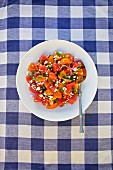 A summer salad with tomato, watermelon, coriander and feta cheese on a blue checked tablecloth