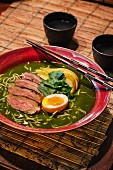 Japanese kamo matcha ramen soup with duck breast