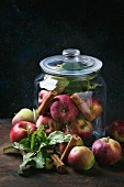Wild apples with leaves and cinnamon sticks in a preserving jar