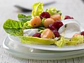 Mozzerella and melon salad with raspberries