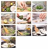 Heilbutt auf Sprossengemüse mit Bohnen und Nori-Algen zubereiten
