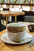 Green tea soufflé in a restaurant