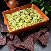 Guacamole with blue corn chips