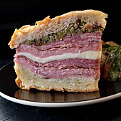 A muffuletta sandwich with olive tapenade