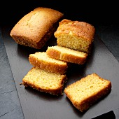 Mini cornbread loaves, one sliced