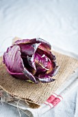 A red cabbage on a linen cloth