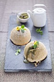 Small matcha tea cakes with a lava core