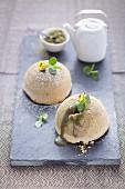 Small matcha tea cakes with a lava core