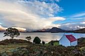 The village of Shieldaig by Loch Shieldaig in the Scottish Highlands