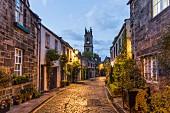 Circus Lane in Stockbridge with St. Stephen's Church in Edinburgh, Scotland