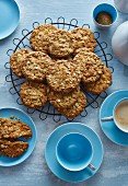 Ginger and oat biscuits served with coffee