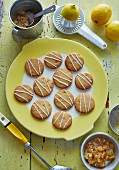Lemon and ginger biscuits with ingredients