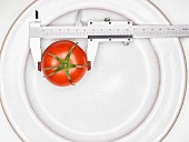 A tomato with a precision ruler