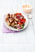 Beef koftas with grilled vegetables