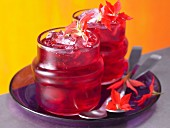 Hibiscus iced tea with cranberry juice