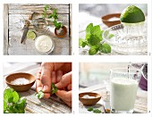 How to prepare a yoghurt smoothie with lime juice, herbs and cardamon