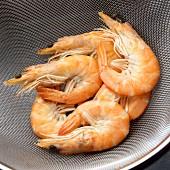 Boiled prawns in a sieve