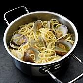 Spaghetti mit Little Neck Clams im Kochtopf